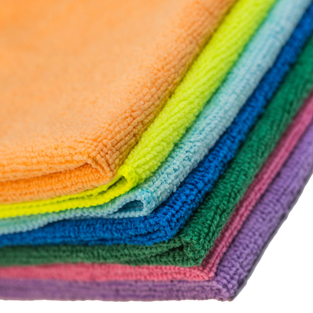 """""""Colorful cleaning rag microfiber cloth isolated on white"""" stock image"""