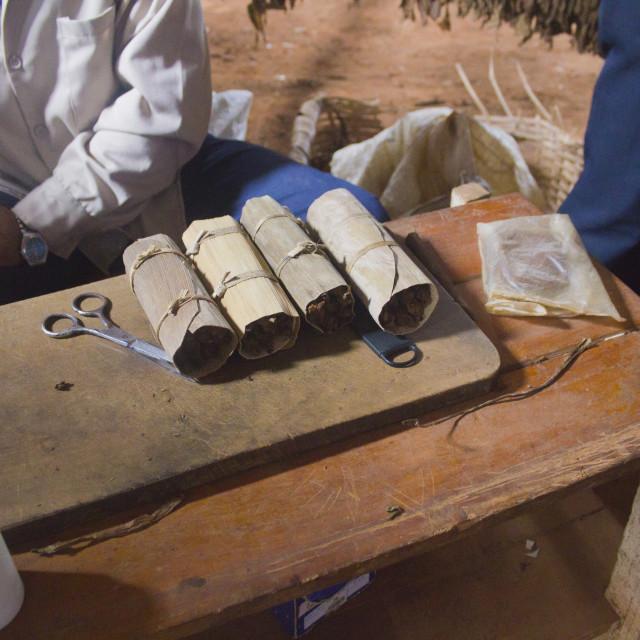 """tools to make cuban cigars, typical puros, handmade"" stock image"