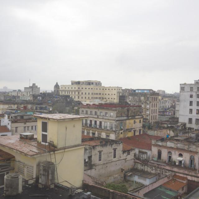 """View of Habana Vieja (Old Havana), Cuba, from roof of Ambos Mundos Hotel"" stock image"