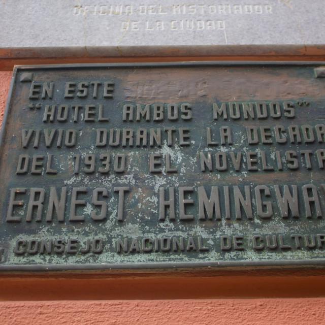 """Hotel Ambos Mundos placard"" stock image"