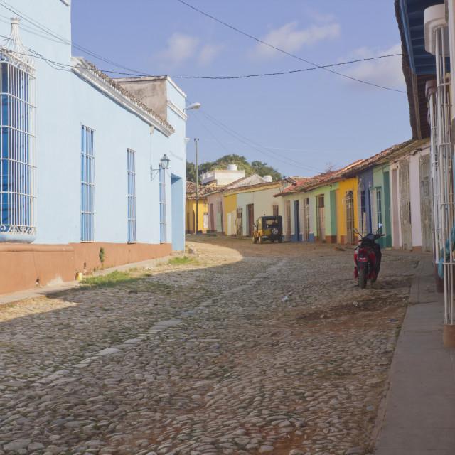 """Colored Trinidad streets in Cuba"" stock image"