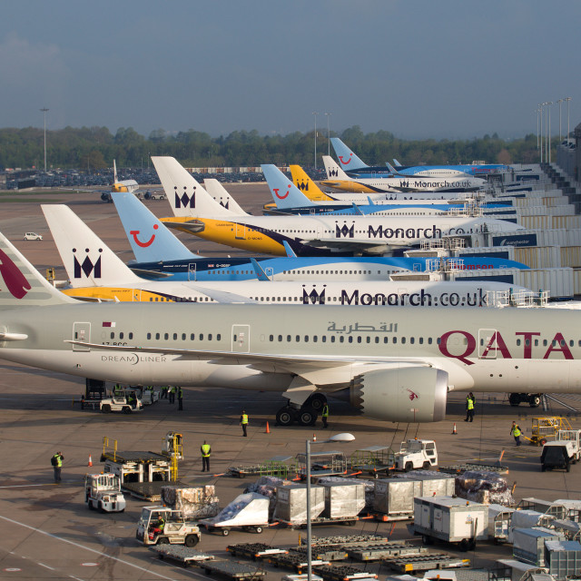 """Qatar Airways 787-8 Manchester Airport"" stock image"