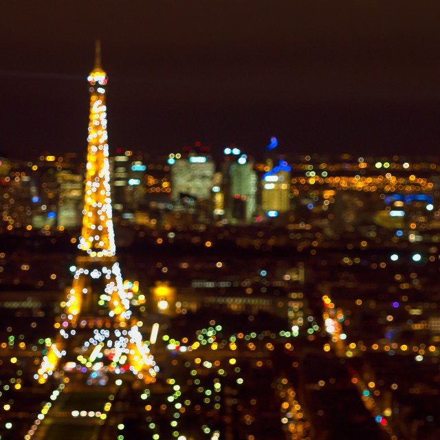 """""""Paris, Eiffel tower, at evening sunset blue hour. View from Montparnasse"""" stock image"""