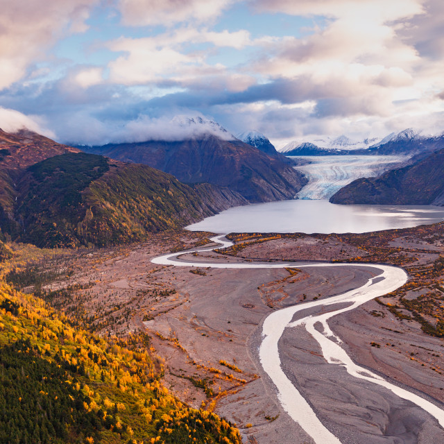 """Aerial view of autumn color along Skilak glacier Alaska"" stock image"