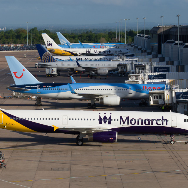 """""""Monarch Airlines at Terminal 2 Manchester Airport"""" stock image"""