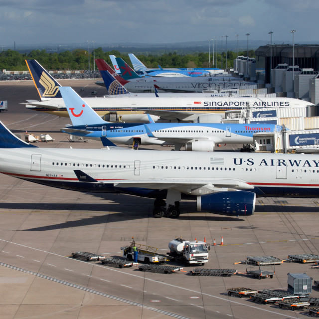"""""""US Airways A330 on stand at Terminal 2 Manchester Airport"""" stock image"""