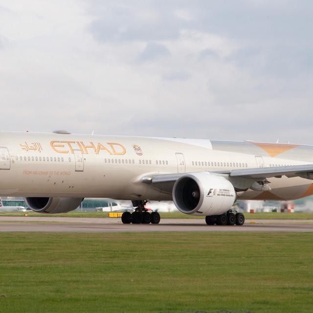 """Etihad 777 Manchester Airport"" stock image"