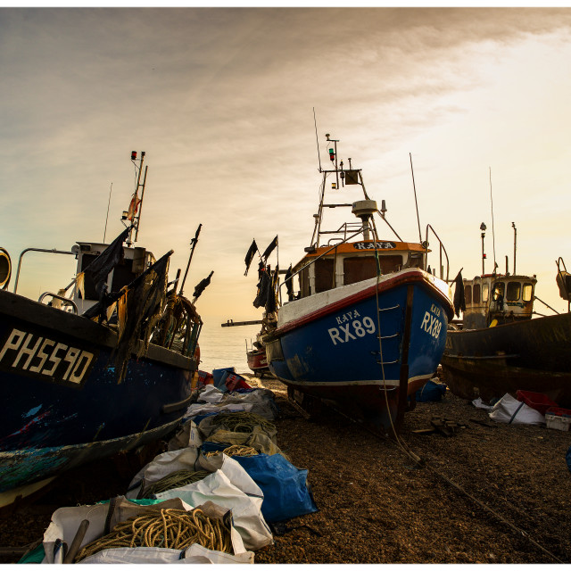 """Hastings Beach Fleet"" stock image"