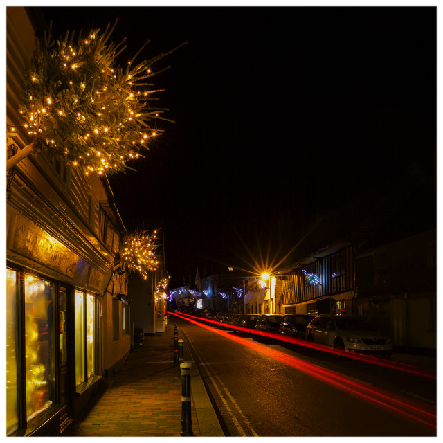 """Robertsbridge Christmas Lights"" stock image"