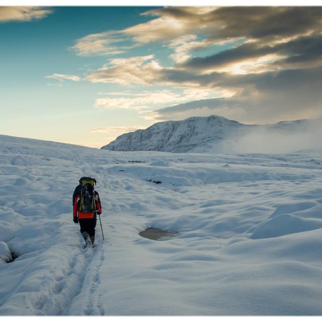 """Wilderness Walking, Letterewe Wilderness."" stock image"