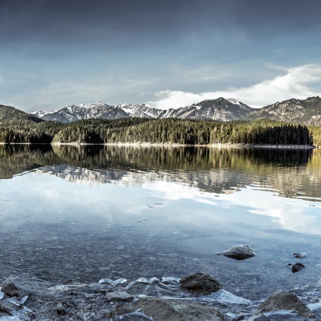 """Eibsee lake winter panorama"" stock image"