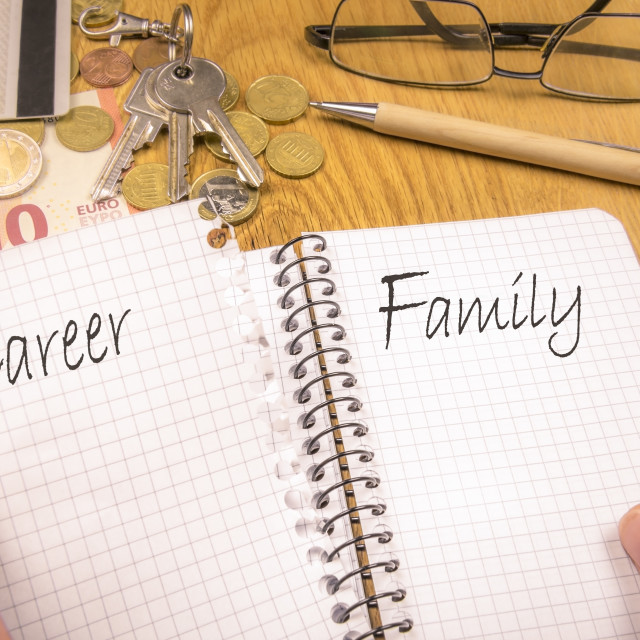 """Family over career concept"" stock image"