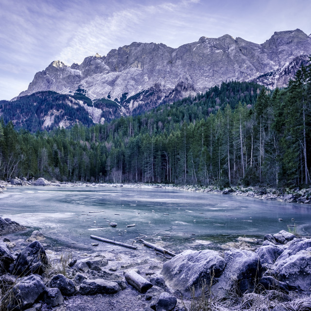 """""""Frozen lake in the German Alps"""" stock image"""