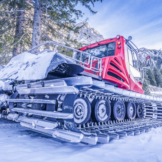"""Snow groomer car, on the side view"" stock image"