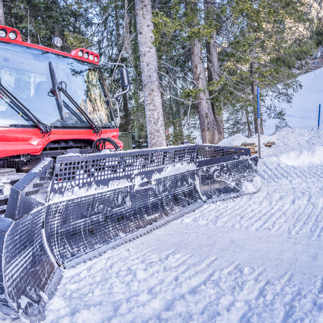 """Snow groomer machine, front view"" stock image"