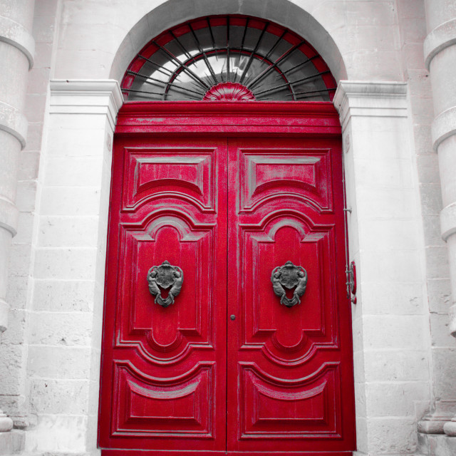 """Red door in Malta"" stock image"