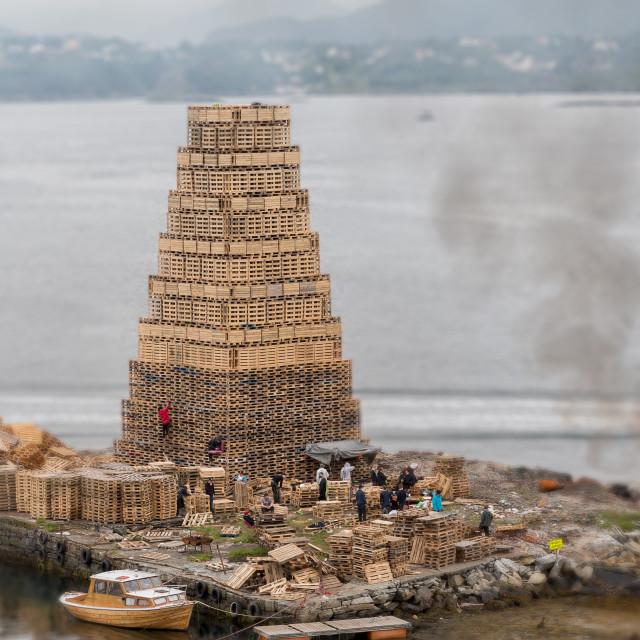 """""""Bonfire - Midsummer festivity in Alesund"""" stock image"""