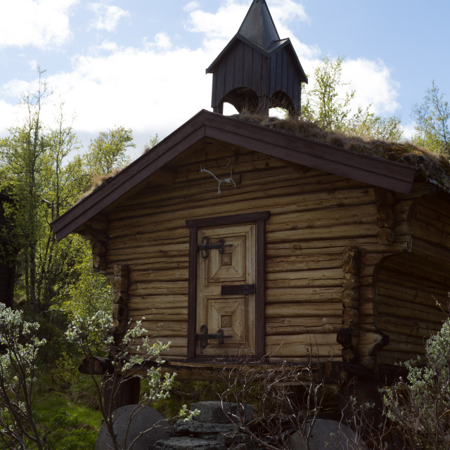 """A small house looking like a mini-church / chapel"" stock image"