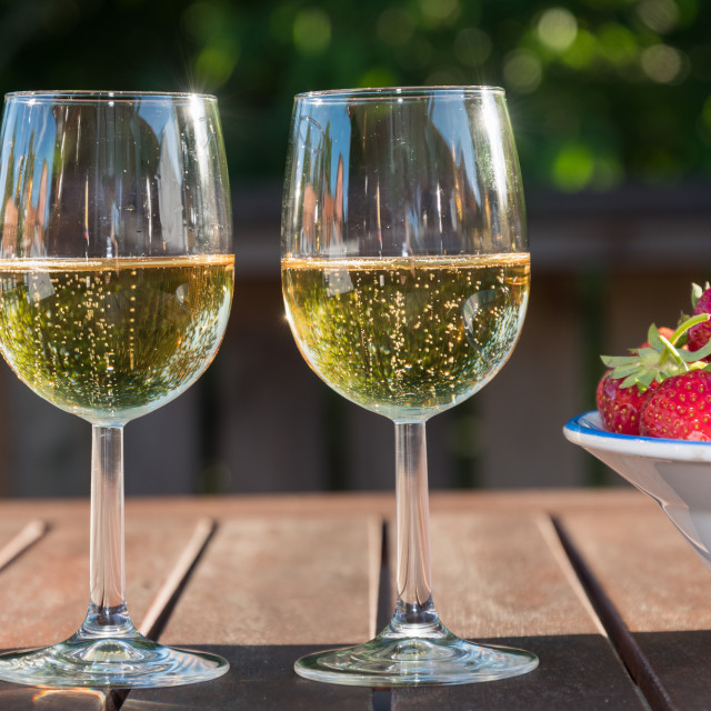 """""""Sparkling wine and strawberries"""" stock image"""