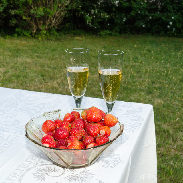 """Strawberries and two glasses sparkling wine"" stock image"
