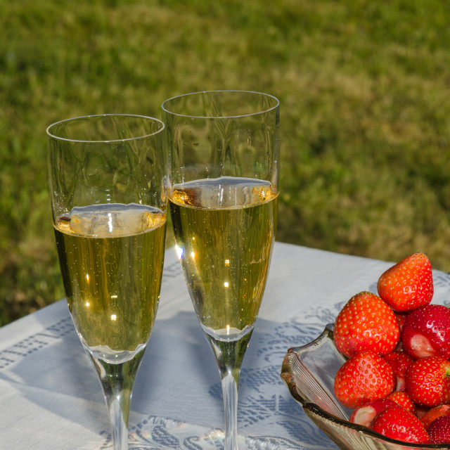 """""""Garden table with strawberries and sparkling wine"""" stock image"""