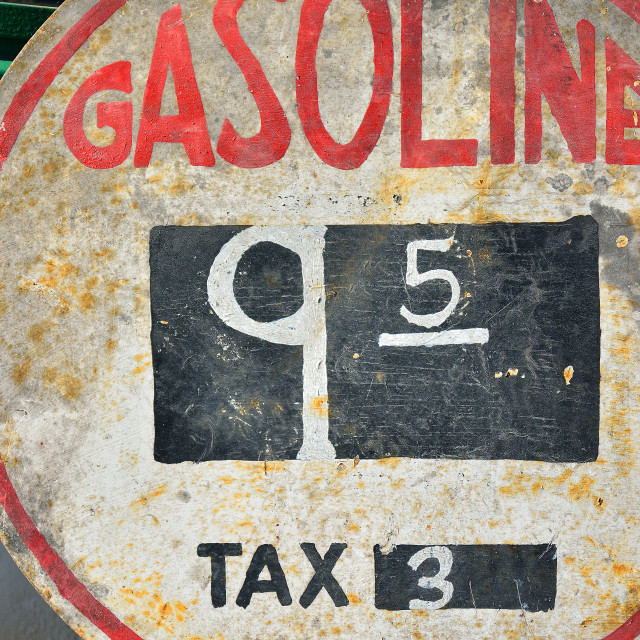 """Old sign with gas prices."" stock image"