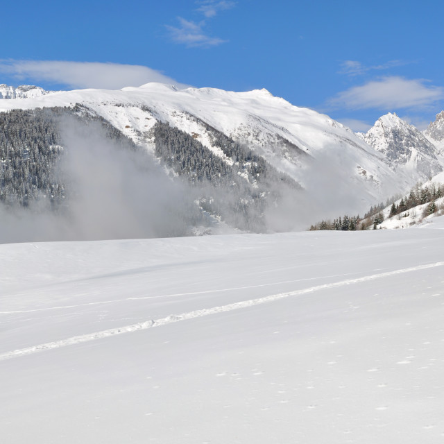 """""""mountain in the snow"""" stock image"""