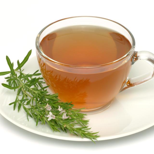 """""""Medicinal tea made of Savory, savorytea, Satureja hortensis, montana"""" stock image"""