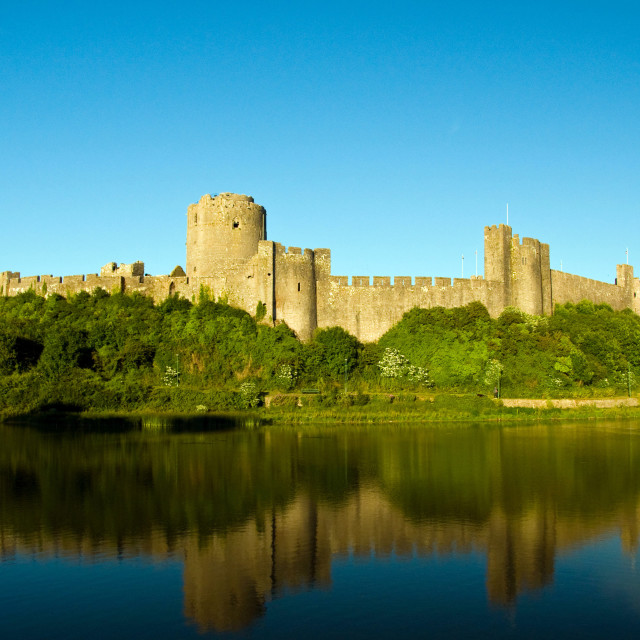 """""""View over the moat of the Norman castle at Pembroke. The beautif"""" stock image"""