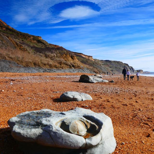 """Fallstreak cloud above Eype Beach Dorset"" stock image"