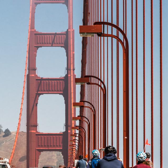 """Bike Riding over the Golden Gate Bridge"" stock image"