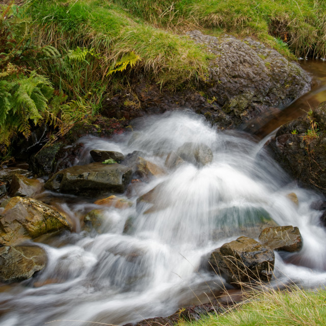 """Waterfalls - Carding Mill Valley"" stock image"