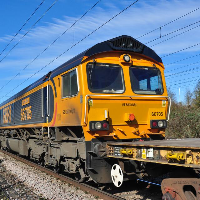 """GBRf class 66 approaching Hitchin"" stock image"