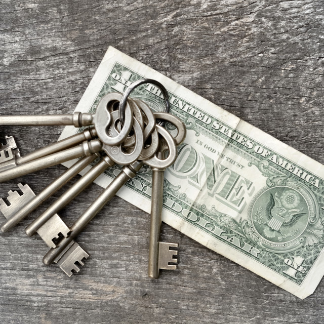 """keys and money"" stock image"