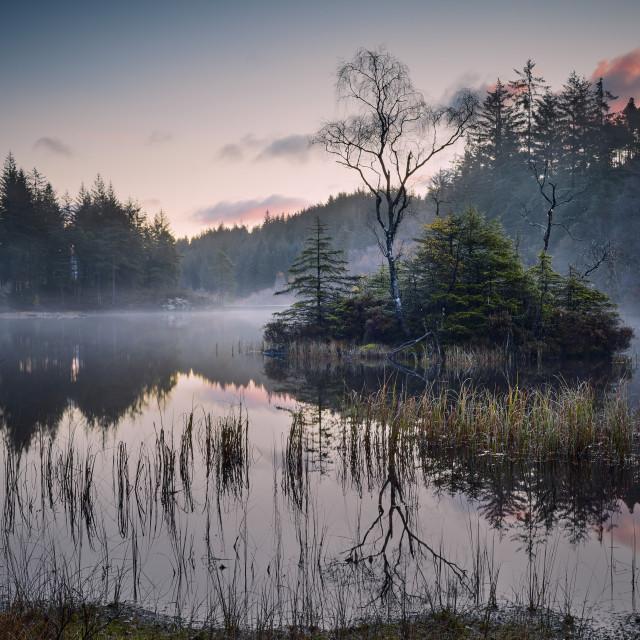 """""""Mist On Lochan a' Ghleannain"""" stock image"""