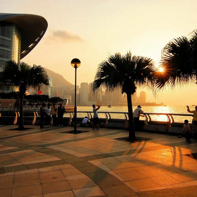 """Wan Chai Waterfront Promenade, Hong Kong"" stock image"
