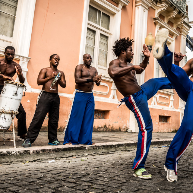 """Group of people playing Capoeira in Salvador, Bahia, Brazil"" stock image"