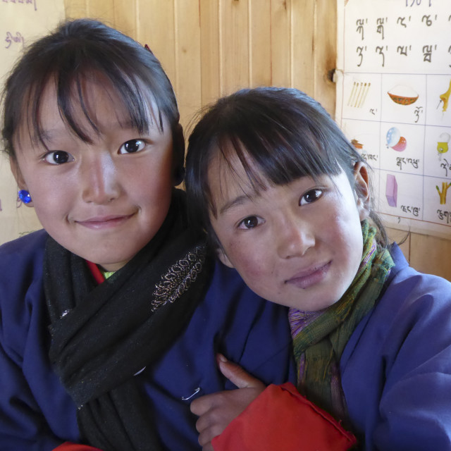"""Bhutanese School Girls"" stock image"