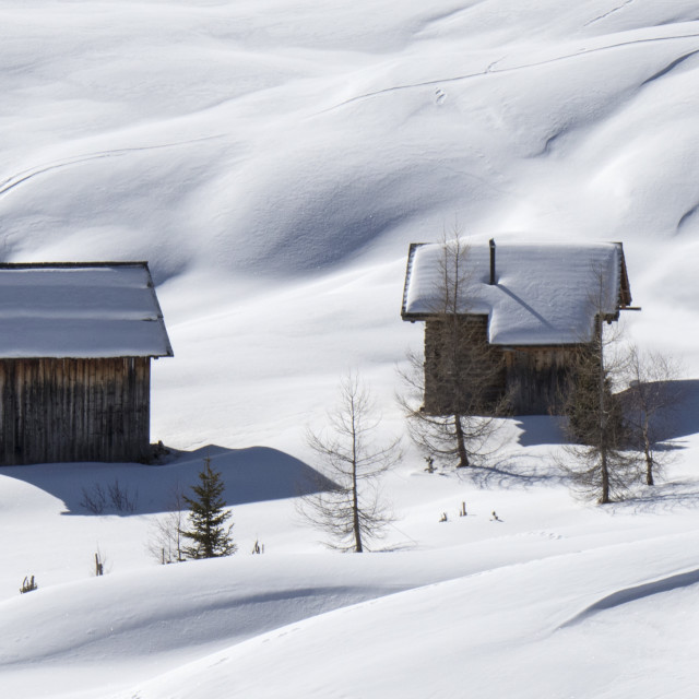 """Snow Cabins"" stock image"