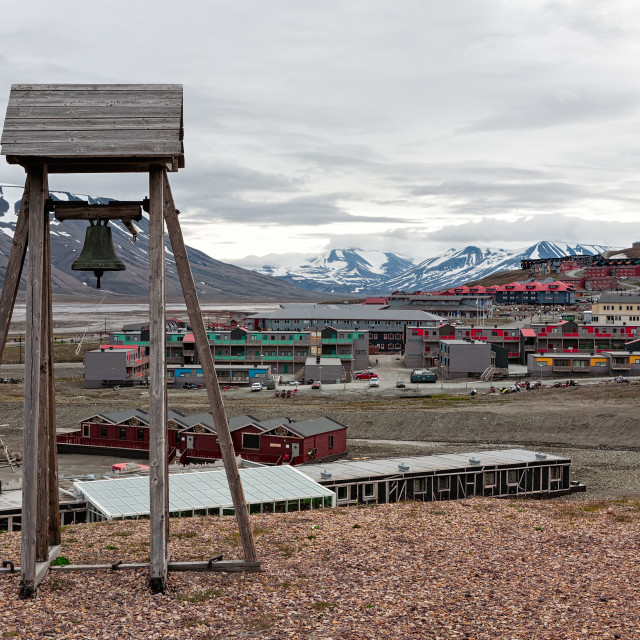 """Bell tower in Longyearbyen, Norway"" stock image"