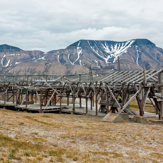 """Old cable car in Longyearbyen, Norway"" stock image"