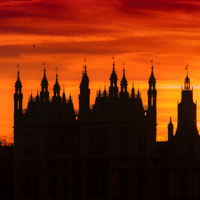 """Sunset over the Houses of Parliament"" stock image"