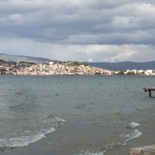 """cameraman shooting video on lake ohrid in macedonia,"" stock image"