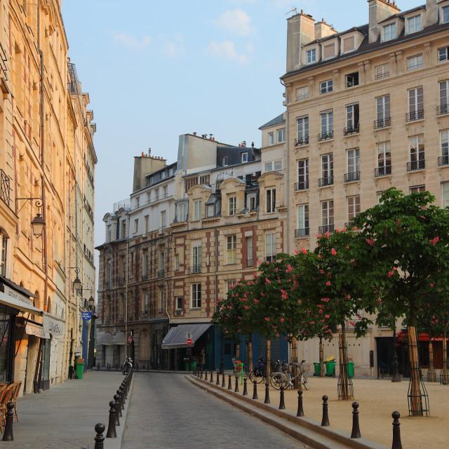 """""""Paris, Ile de la Cité: A view of Place Dauphine."""" stock image"""