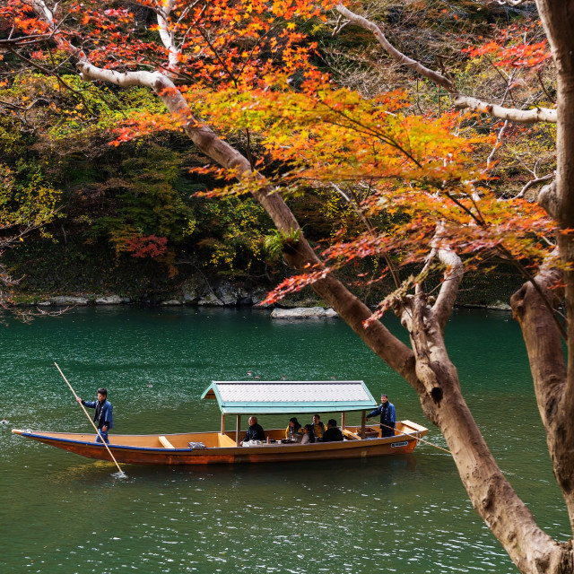 """Arashiyama Boat tour at fall, Kyoto"" stock image"