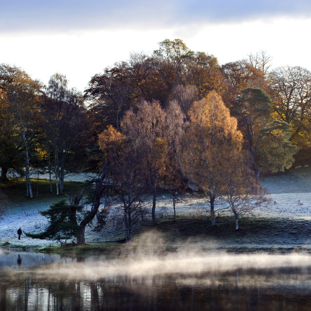 """An early morning walk around the Loch in late Autumn"" stock image"