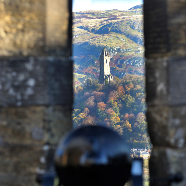 """National Wallace Monument seen from Sterling Castle gun emplacement"" stock image"