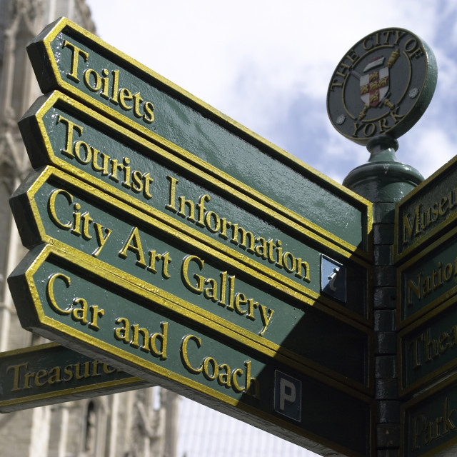 """""""Direction Information sign in York"""" stock image"""