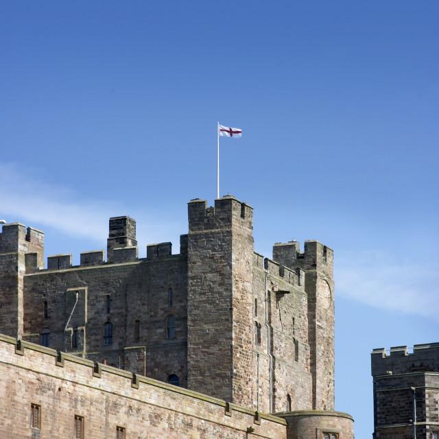 """""""Bamburgh castle flag mast"""" stock image"""