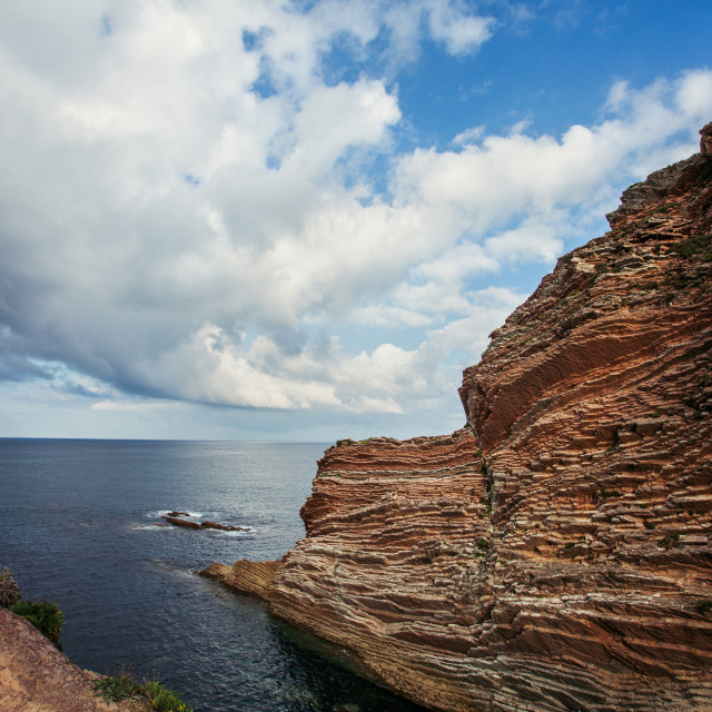 """Panoramic of cliffs"" stock image"